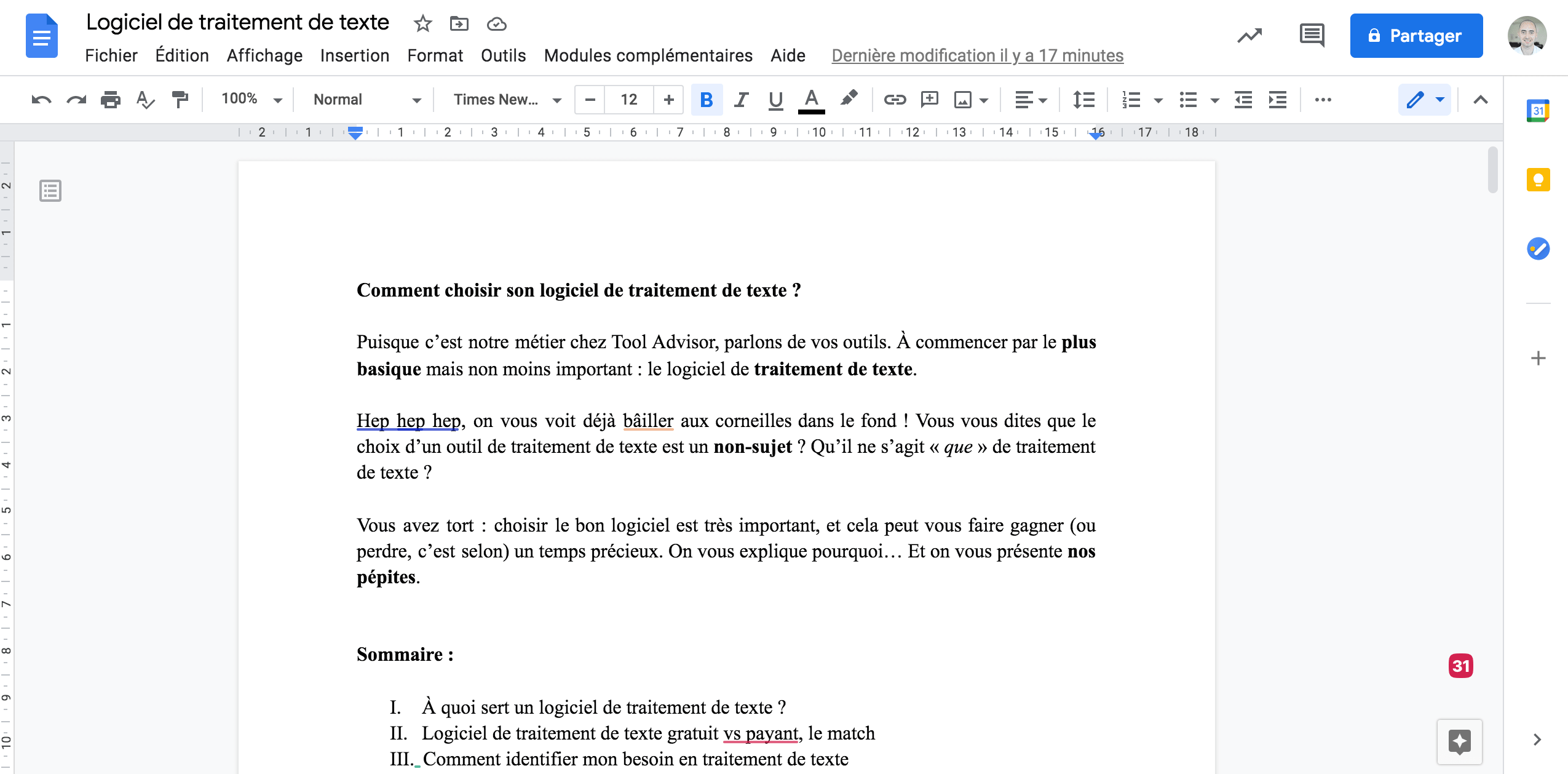 Traitement de texte Google Docs