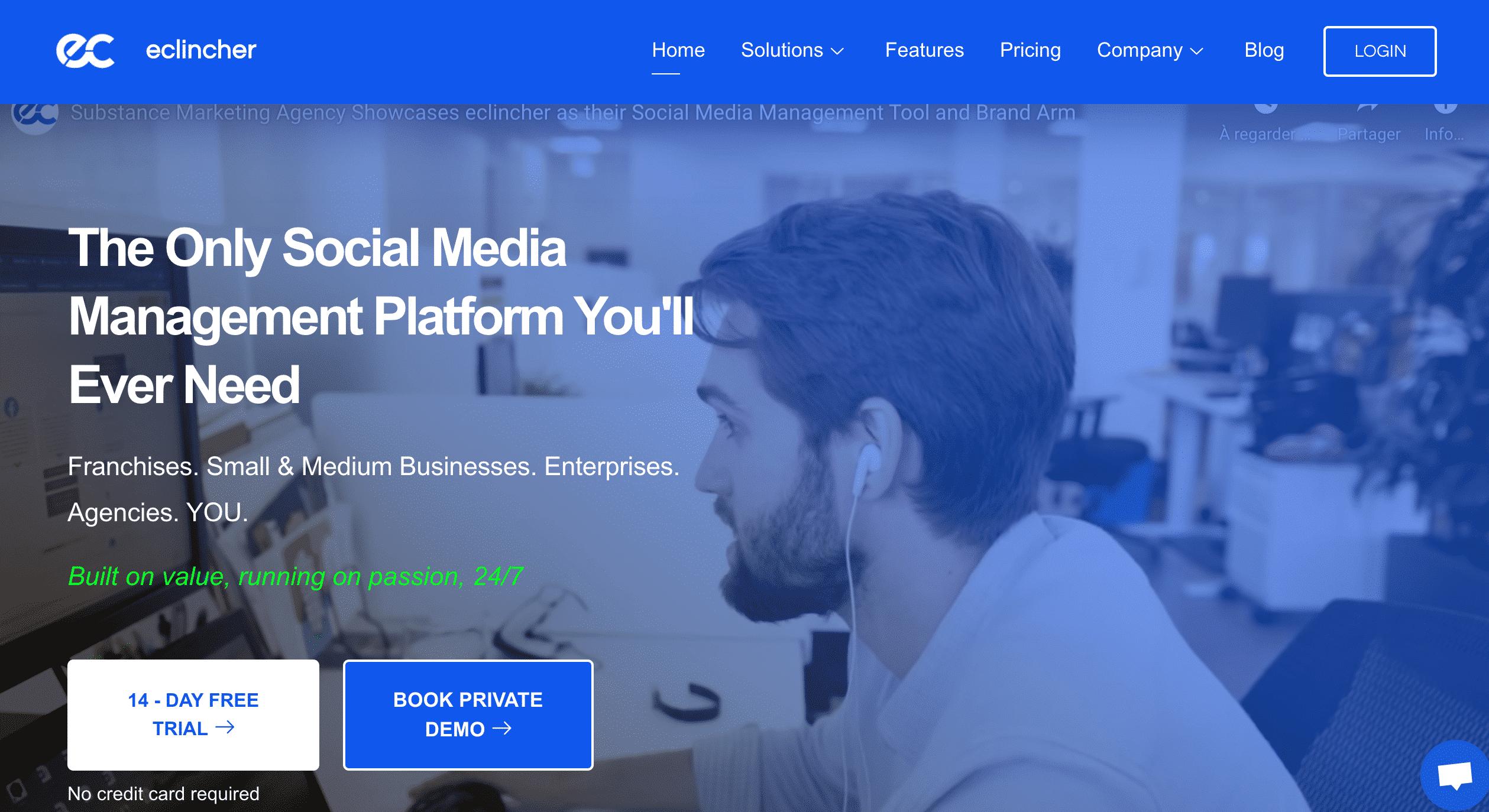 eClincher gestion réseau social