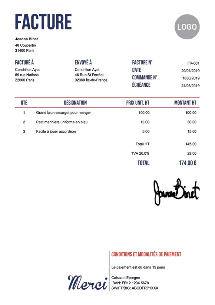 Modele de facture invoicehome