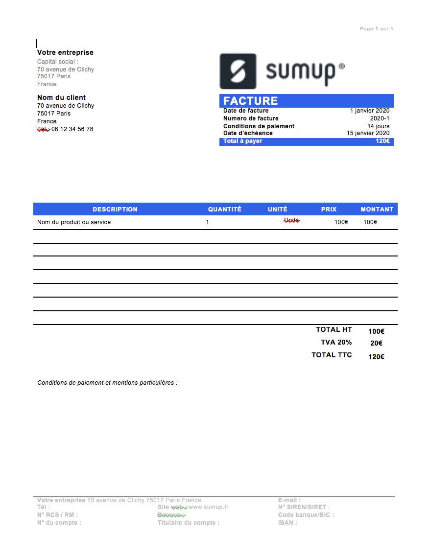 Modele facture sumup