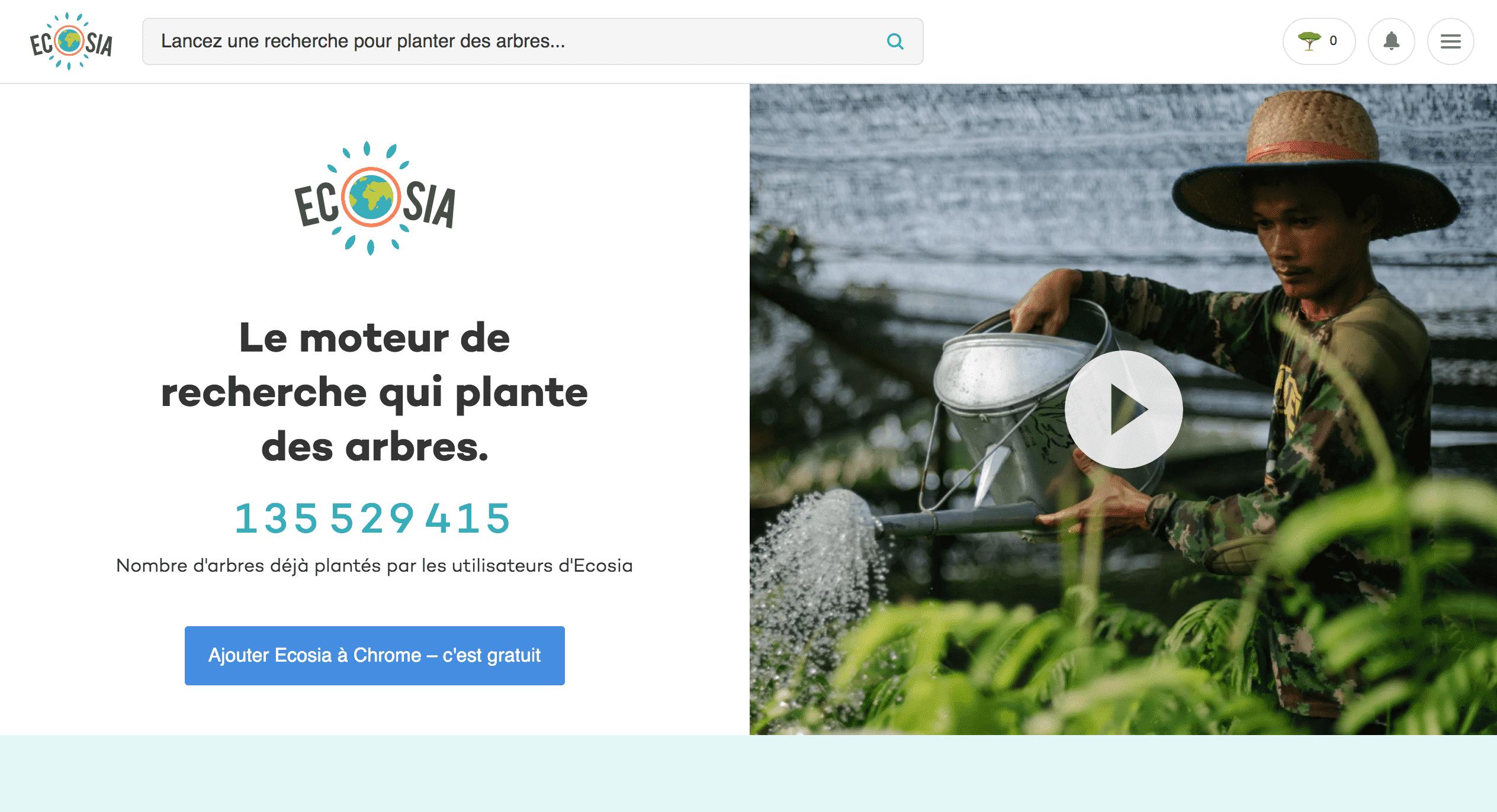 Ecosia moteur de recherche élecologique