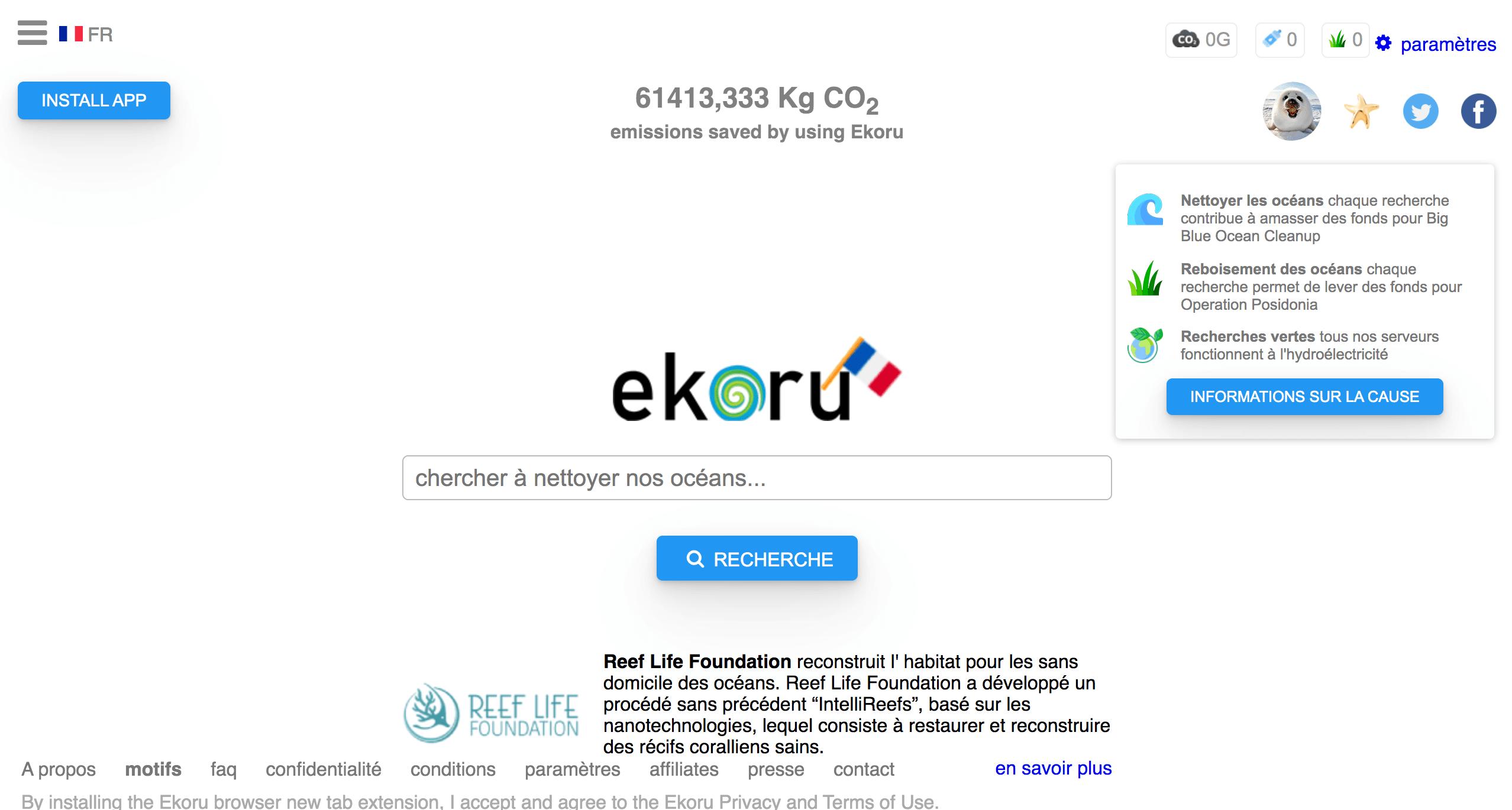 Ekoru moteur de recherche caritatif